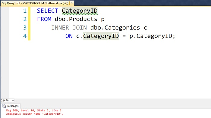 SQL Server'da Ambiguous Column Name Hatası