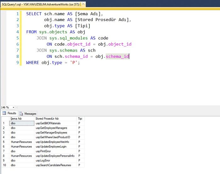 SQL Server'da Prosedürleri Listelemek
