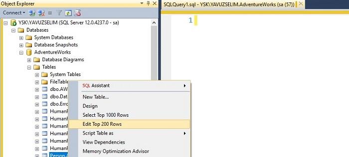 SQL Server'da Edit Top 200 Rows Satır Sayısını Değiştirme